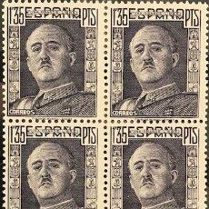 Sellos: SELLOS ESPAÑA 1946 GENERAL FRANCO EDIFIL 1001** BLOQUE DE 4 MNH CON MARGEN DE HOJA. Lote 173087815