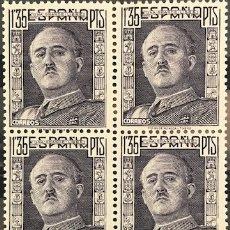 Sellos: SELLOS ESPAÑA 1946 GENERAL FRANCO EDIFIL 1001** BLOQUE DE 4 MNH CON MARGEN DE HOJA. Lote 173087899