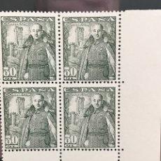 Sellos: SELLOS ESPAÑA 1946 GENERAL FRANCO EDIFIL 1025 BLOQUE DE 4 MNH** CON MARGEN DE HOJA. Lote 173088292
