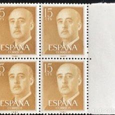Sellos: SELLOS ESPAÑA 1955 GENERAL FRANCO EDIFIL 1144 BLOQUE DE 4 MNH** CON MARGEN DE HOJA. Lote 173088770