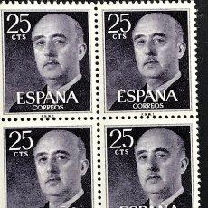 Sellos: SELLOS ESPAÑA 1955 GENERAL FRANCO EDIFIL 1146 BLOQUE DE 4 MNH** CON MARGEN DE HOJA. Lote 173089172