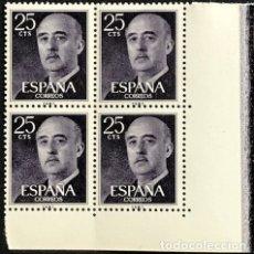 Sellos: SELLOS ESPAÑA 1955 GENERAL FRANCO EDIFIL 1146 BLOQUE DE 4 MNH** CON MARGEN DE HOJA. Lote 173089208