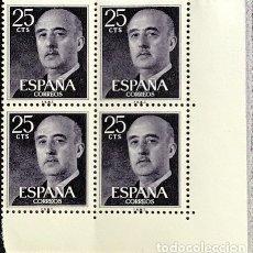 Sellos: SELLOS ESPAÑA 1955 GENERAL FRANCO EDIFIL 1146 BLOQUE DE 4 MNH** CON MARGEN DE HOJA. Lote 173089223