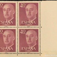 Sellos: SELLOS ESPAÑA 1955 GENERAL FRANCO EDIFIL 1148 BLOQUE DE 4 MNH** CON MARGEN DE HOJA. Lote 173089537