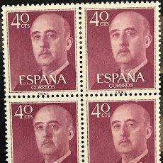 Sellos: SELLOS ESPAÑA 1955 GENERAL FRANCO EDIFIL 1148 BLOQUE DE 4 MNH** CON MARGEN DE HOJA. Lote 173089574
