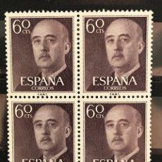Sellos: SELLOS ESPAÑA 1955 GENERAL FRANCO EDIFIL 1150 BLOQUE DE 4 MNH** CON MARGEN DE HOJA. Lote 173089632