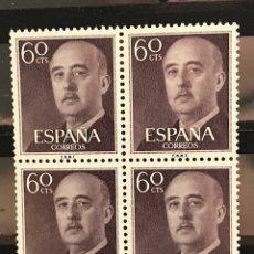 Sellos: SELLOS ESPAÑA 1955 GENERAL FRANCO EDIFIL 1150 BLOQUE DE 4 MNH** CON MARGEN DE HOJA. Lote 173089668