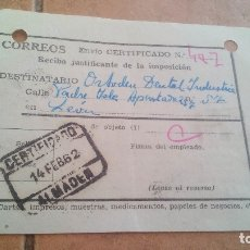Sellos: RESGUARDO CORREOS CERTIFICADO, CON SELLO MUTUALIDAD DE CORREOS, MUTUALIDAD POSTAL - AÑOS 50,60. Lote 173607259
