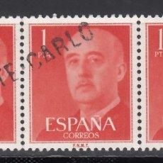 Sellos: ESPAÑA,1955-56 EDIFIL Nº 1153, GENERAL FRANCO, MATASELLOS LINEAL DE * MONTECARLO*, MONACO.. Lote 174194122