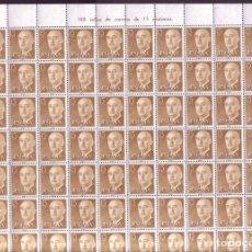 Sellos: 300 SELLOS EN PLIEGO AÑO 1955 - EDIFIL 1144 - GENERAL FRANCO - VALOR DE 0,15 PESETAS.. Lote 174981917