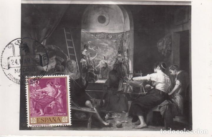 TARJETA POSTAL: 1959 MADRID. VELAZQUEZ - LAS HILANDERAS (Sellos - España - II Centenario De 1.950 a 1.975 - Cartas)
