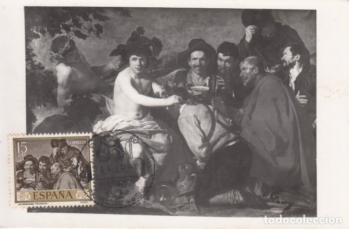 TARJETA POSTAL: 1959 MADRID. VELAZQUEZ - LOS BORRACHOS (Sellos - España - II Centenario De 1.950 a 1.975 - Cartas)