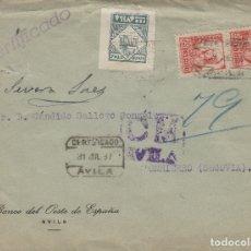 Selos: AVILA - CENSURA MILITAR - REMT BANCO DEL OESTE - CON VIÑETA PRO AVILA - CARTA ESTADO ESPAÑOL . Lote 175618663