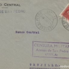 Selos: AVILA - ARENAS DE SAN PEDRO CENSURA MILITAR - - FRONTAL DE CARTA ESTADO ESPAÑOL . Lote 175619192