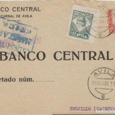 Selos: AVILA -CENSURA MILITAR -REMT BANCO CENTRAL - CON VIÑETA PRO AVILA - FRONTAL DE CARTA ESTADO ESPAÑOL . Lote 175619422