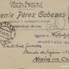 Selos: AVILA - ARÉVALO CENSURA MILITAR -RMT VICENTE PEREZ CABEZAS .TIMBRE MÓVIL . TARJETA ESTADO ESPAÑOL . Lote 175619947