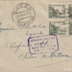 Francobolli: BALEARES -MENORCA MAHÓN CENSURA MILITAR - SOBRE DE CARTA E. ESPAÑOL . Lote 175705338