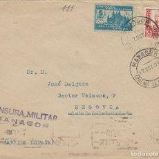 Sellos: BALEARES -MANACOR (MALLORCA) CENSURA MILITAR - LOCAL PRO PARO - SOBRE DE CARTA E. ESPAÑOL . Lote 175705628