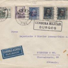 Selos: BURGOS - CENSURA MILITAR - DEST ALEMANIA POR AVION -SOBRE DE CARTA E. ESPAÑOL. Lote 175707960