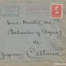 Selos: BURGOS - BRIVIESCA CENSURA MILITAR - RMTE FARMACIA VILLANUEVA -SOBRE DE CARTA E. ESPAÑOL . Lote 175708473