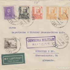 Timbres: BURGOS - CENSURA MILITAR -DEST ALEMANIA , POR AVIÓN -SOBRE DE CARTA E. ESPAÑOL . Lote 175708727
