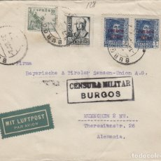 Timbres: BURGOS -CENSURA MILITAR -DEST ALEMANIA , POR AVIÓN , SOBRE DE CARTA E ESPAÑOL . Lote 175709283