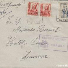 Selos: BURGOS -CENSURA MILITAR -CERTIFICADO , VIÑETA CRUZADA FRÍO , SOBRE DE CARTA E ESPAÑOL. Lote 175709459