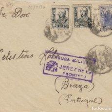 Sellos: CÁDIZ - JEREZ CENSURA MILITAR - DESTINO PORTUGAL - SOBRE DE CARTA E. ESPAÑOL . Lote 175720739