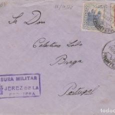 Sellos: CÁDIZ - JEREZ CENSURA MILITAR - DESTINO PORTUGAL - SOBRE DE CARTA E. ESPAÑOL . Lote 175720768