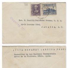 Sellos: CÁDIZ -ARCOS DE LA FRONTERA CENSURA MILITAR -RMT HERMANITAS DESAMPARADOS- SOBRE DE CARTA E. ESPAÑOL . Lote 175720965