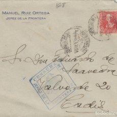 Sellos: CÁDIZ -JÉREZ CENSURA MILITAR - RMT M. RUIZ ORTEGA - SOBRE DE CARTA E. ESPAÑOL . Lote 175721062