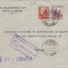 Sellos: CÁDIZ - JEREZ CENSURA MILITAR- RMTE A.R. VALDESPINO -SOBRE DE CARTA E. ESPAÑOL . Lote 175721330