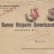 Sellos: CÁDIZ - SANLUCAR DE BARRAMEDA CENSURA MILITAR- SELLO PROVINCIAL . -SOBRE DE CARTA E. ESPAÑOL . Lote 175729738