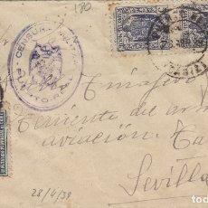 Sellos: CÁDIZ - PUERTO REAL CENSURA MILITAR- .FRANQUEO T. MOVIL -SOBRE DE CARTA E. ESPAÑOL . Lote 175729935