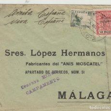 Sellos: CÁDIZ - CAMPAMENTO CENSURA MILITAR- SELLLO PROVINCIAL -SOBRE DE CARTA E. ESPAÑOL. Lote 175730462