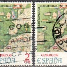Sellos: ESPAÑA - DOS SELLOS - EDIFIL:#2172 - **L ANIVERSARIO CONSEJO SUPERIOR GEOGRAFICO** - AÑO 1974-USADOS. Lote 178793736