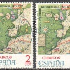 Sellos: ESPAÑA - DOS SELLOS - EDIFIL:#2172 - **L ANIVERSARIO CONSEJO SUPERIOR GEOGRAFICO** - AÑO 1974-USADOS. Lote 178793825
