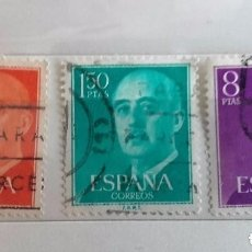 Sellos: ESPAÑA LOTE DE 3 SELLOS SERIE BÁSICA DE FRANCO USADOS. Lote 179217040