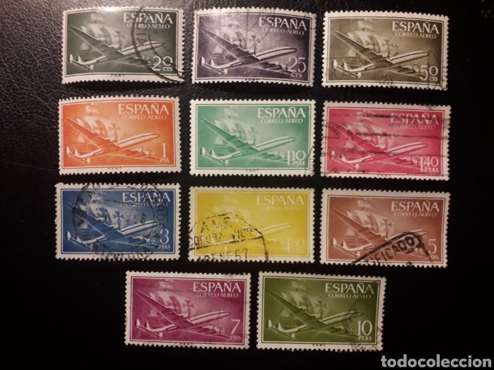 ESPAÑA. EDIFIL 1169/79. SERIE COMPLETA USADA. SUPERCONSTELACIÓN Y NAO SANTA MARÍA. 1955-56. (Sellos - España - II Centenario De 1.950 a 1.975 - Usados)
