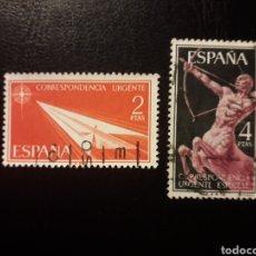 Sellos: ESPAÑA. EDIFIL 1185/6 SERIE COMPLETA USADA. CORREO URGENTE. 1956.. Lote 180290571