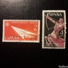Sellos: ESPAÑA. EDIFIL 1185/6 SERIE COMPLETA USADA. CORREO URGENTE. 1956.. Lote 180290573