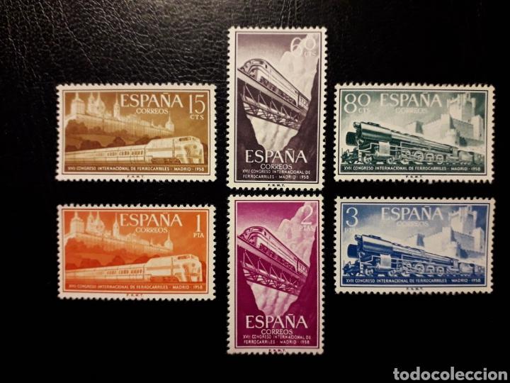 ESPAÑA EDIFIL 1232/7 SERIE COMPLETA NUEVA SIN CHARNELA. CONGRESO DE FERROCARRILES. TRENES. 1958. (Sellos - España - II Centenario De 1.950 a 1.975 - Nuevos)