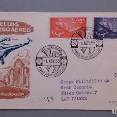 Sellos: ESPAÑA - 1955 - SOBRE Y MATASELLOS PRIMER DIA CIRCULACION CON EDIFIL 1170 Y 1172 - LAS PALMAS.. Lote 181779423