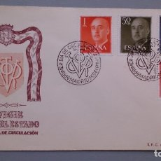 Sellos: 1955 - SOBRE Y MATASELLOS PRIMER DIA CIRCULACION EFIGIE FRANCO - EDIFIL 1146,1149,1153 Y CLAVE 1157. Lote 181780538