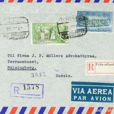 Sellos: ESPAÑA. 2º CENTENARIO POSTERIOR A 1960. SOBRE 1446, 1447. 1962. 3 PTS AZUL Y 10 PTS VERDE. CERTIFIC. Lote 183128422