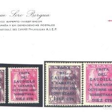 Sellos: ESPAÑA, 1950 EDIFIL Nº 1083 A / 1083 B, VISITA DEL CAUDILLO A CANARIAS, CERTIFICADO SORO, . Lote 183326671