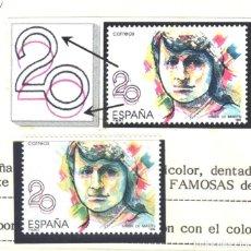 Sellos: ESPAÑA, 1989 FILABO 2989K, COLOR ROJO DESPLAZADO, CERTIFICADO GRAUS. Lote 183326941