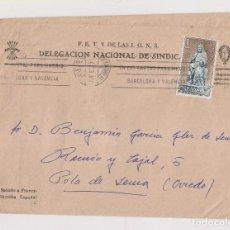 Sellos: SOBRE DE LA DELEGACIÓN NACIONAL DE SINDICATOS DE FALANGE DIRIGIDO A POLA DE LENA. ASTURIAS. 1971. . Lote 186148748