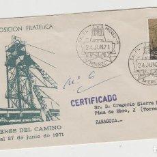 Sellos: LOTE A SOBRE EXPOSICION FILATELICA MIERES MINERIA AÑO 1971 MATA SELLOS. Lote 187087507