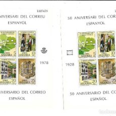 Sellos: LOTE DE 5 HOJAS BLOQUE DE ANDORRA DEL 50 ANIVERSARIO DEL CORREO ESPAÑOL DE 1.978 NUEVAS . Lote 187094847